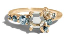 All ethically sourced stones - Montana sapphire Hex Sapphire Cluster Ring by Bario Neal - I am LIVING for this ring!