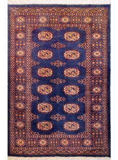 "Blue Oriental Bokhara Rug 3' 2"" x 4' 11"" (ft) - No. 11222  http://alrug.com/blue-oriental-bokhara-rug-3-2-x-4-11-ft-no-11222.html"