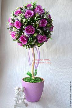 Купить Топиарий Фиолетовые розы - фиолетовый, топиарий, топиарий дерево счастья, подарок, Дерево счастья