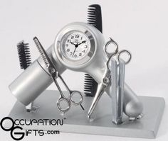 Hairdresser Clock - They'll love this unique and stylish clock for hairdressers / barbers. Do they style hair in a salon? Than this might be the perfect unique gift for them. Would also make a very nice wedding gift. #gifts #shopping