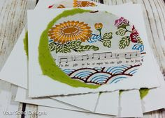 Simple Gifts Folk Art & Music Nature Inspired Notecard Set  $14.99 at www.yoursongdesigns.etsy.com