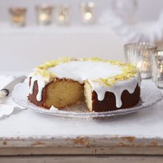 Lemon and marzipan drizzle cake recipe - Woman And Home - This is the best cake I have ever bake in my life!!! LOOOOVED it!!! easy to make as well, for lemon lovers :)