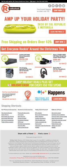 Radio Shack holiday email 2013 Radio Shack used agile email through Movable Ink Dec. 2013