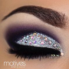 New Years Eve look for this year I used small Swarovski Crystals sporadically over a glitter cut crease for those that may feel intimated in covering the entire lid with stones :) Using all @motivescosmetics     #vegas_nay