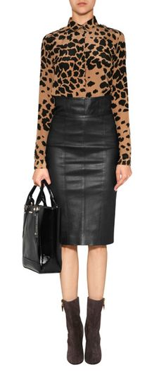 Black and brown print blouse, black leather pencil skirt!
