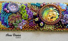 """Close-up of my newest beaded cuff design """"Spring"""" ~ by Anne Davies"""