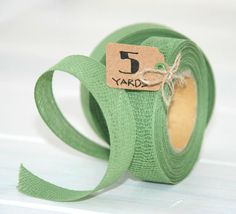 Sage Cotton Ribbon  5 Yards of 100 Cotton Ribbon by CraftyWoolFelt, $8.00