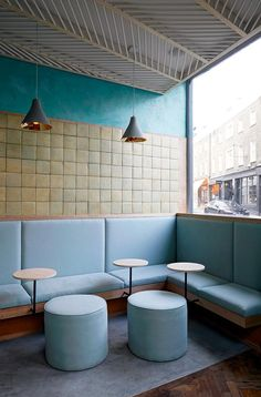 New Ideas For Restaurant Booth Seating Design Window Restaurant Booth Seating, Deco Restaurant, Cafe Seating, Modern Restaurant, Banquette Seating, Lounge Seating, Restaurant Ideas, Italian Interior Design, Restaurant Interior Design