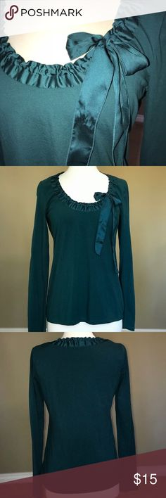 Perfect for the Holidays Top! Lovely Forrest green, long sleeve Ann Taylor Loft shirt. Beautiful roched ribbon and bow detailing at the neckline add that little something extra ATL is known for. 93% cotton, 7% spandex to hold its shape. Very gently worn, size M. Ann Taylor Loft Tops Tees - Short Sleeve