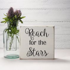 Reach For The Stars- Wood Block Baby/Nursery/Kids Room Decor-Baby Gift-Shower Gift-Birthday Gift-Country Decor by LilyAndLiamBoutique on Etsy