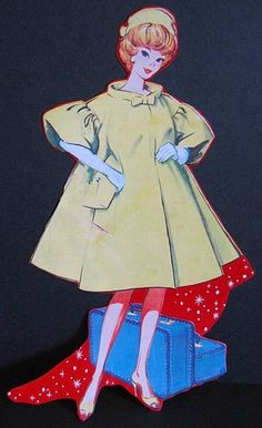 Vintage BARBIE Doll Vinyl Case Illustration - 1962 BUBBLECUT - GREAT for Collage or Altered Art Projects