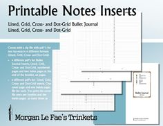 RS Notes and Bullet Journal inserts,  Lined, Grid, Cross- and Dot-Grid