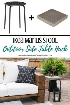 Ikea Marius Stool Outdoor Side Table Hack - Another! Patio Ikea, Ikea Patio Furniture, Patio Diy, Diy Outdoor Table, Furniture Ideas, Garden Furniture, Backyard Patio, Furniture Makeover, Diy Table