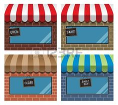 set of storefronts with awnings and display windows Stock Vector