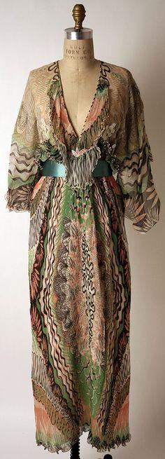 I like like this pink and green and black print. Zandra Rhodes silk evening dress, 1975.