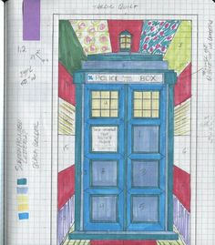 How Cola Johnson made her Tardis Quilt - includes pattern. Longarm Quilting, Hand Quilting, Machine Quilting, Quilting Projects, Sewing Projects, Quilting Ideas, Sewing Ideas, Quilting Tutorials, Sewing Crafts