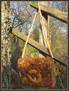 Vintage birchbark shoulder bag from Finland.