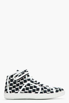 PIERRE HARDY White and black canvas cube Sneakers Pelle Bianca f1ea3be2f96