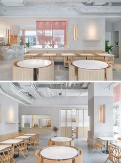 OFFICE COASTLINE have recently completed a new modern tea house in the city of Shanghai China for thelife-style brand Genshang. Restaurant Lounge, Modern Restaurant, Restaurant Furniture, Restaurant Banquette, Coffee Shop Design, Cafe Design, House Design, Design Design, Design Ideas
