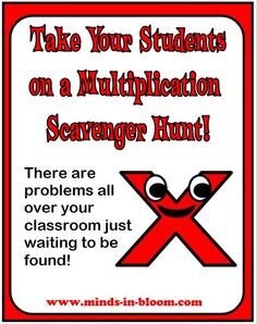 Find the multiplication problems that are hiding all around your classroom! http://www.minds-in-bloom.com/2010/01/send-your-kids-on-multiplication.html#