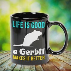 Gerbil Makes Life Better great gift for yourself gerbil lovers, family, friends or any men, women who loves gerbil. - get yours by clicking the link in my profile bio. Gerbil, Ferret, Photo Quotes, In A Heartbeat, Life Is Good, Great Gifts, Profile, Lovers, Mugs