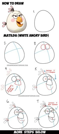 Learn How to Draw Matilda (the White Angry Bird) - from The Angry Birds Movie with Easy Step by Step Drawing Tutorial:
