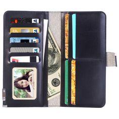 [$4.01] Universal Horizontal Flip Leather Case & Crad Slots & Wallet & Photo Frame & Magnetic Buckle for iPhone 7 Plus & 6s Plus & 6 Plus & 6s & 6, Samsung Galaxy S7 Edge & S7 & S6, Huawei P9 Plus & P9, Size: 185 x 98 x 18 mm (Black)