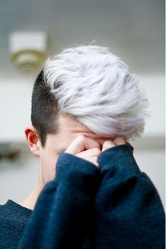 When he gets angry or flustered or whatever, his hair turns white, almost like it's blushing