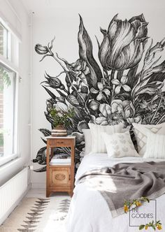 Black and white floral wallpaper, Removable wallpaper or traditional, Sketch drawing, Monohrome wall mural – White and Black Wallpaper