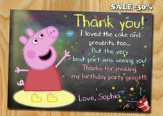 Peppa pig thank you card Peppa pig Invitation Peppa pig