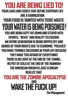 We are the zombie apocalypse? Hmm. What a way to put it. I won't disagree.