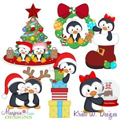 Christmas Penguins SVG-MTC-PNG plus JPG Cut Out Sheet(s) Our sets also include clipart in these formats: PNG & JPG