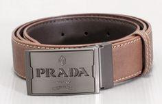 New Mens Prada Leather Belt in Brown.$60.00