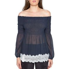 Women's Willow & Clay Shirred Off The Shoulder Top ($89) ❤ liked on Polyvore featuring tops, blouses and midnight