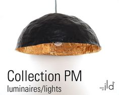 Paper mache lamp, black and gold leaf, ecofriendly.
