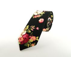 Black Pink Floral Tie. Mens Floral Tie Wedding Tie Men's Gift Skinny Tie Groomsmen uk by TheStyleHubTrends on Etsy