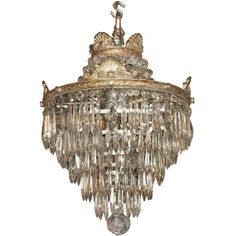 1STDIBS.COM - Royal Antiques - Antique French crystal waterfall... ❤ liked on Polyvore featuring home, lighting, ceiling lights, decor, lamps, furniture, chandeliers, crystal chandelier lighting, crystal ceiling lamp and glass crystal chandelier