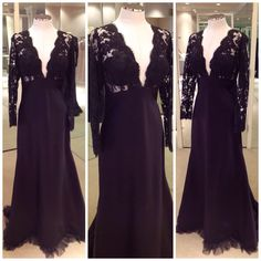 This breathtaking gown is made up of a black Chantilly lace top and silk satin length. It is perfect for this coming fall/winter season!