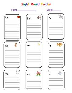 Downloadable, portable sight word wall, promotes independent writing!  Just print and paste on file folders!
