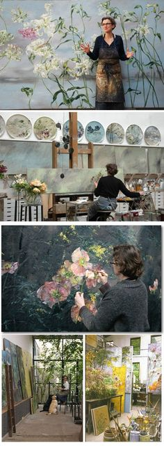 Claire Basler :: Botanical Paintings (working in an old ironworks on the outskirts of Paris). Mazur Mazur Mazur lyden - what a beautiful life/space/art Studios D'art, Design Studios, Art Amour, Illustration Art, Illustrations, French Artists, Art Design, Floral Design, Banksy