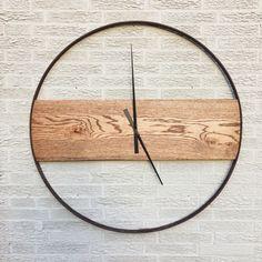 Reclaimed Oak and Iron Clock by sBoliver Designs reclaimed, ecofriendly, wood, oak, wagon wheel, buggy wheel, vintage, modern, rustic, minimal