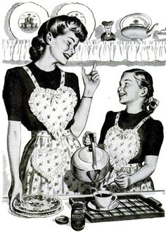 Love their matching heart apron! :) #mother #daughter #kitchen #apron #vintage #1940s #homemaker #housewife