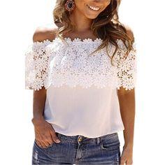 Chiffon Lace blusa camisas brancas Blusas New Zanzea 2015 verão mulheres Sexy de Slash Neck ombro Off Casual Tops Plus Size S XXL em Blusas de Roupas e Acessórios Femininos no AliExpress.com   Alibaba Group