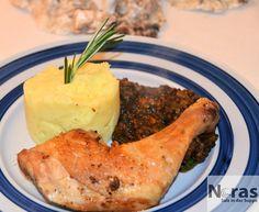 Hähnchen mit Linsenrisotto und Kartoffelpüree mit Olivenöl-Sardische Küche Teil 2 http://norassalzindersuppe.blogspot.de/2014/11/hahnchen-mit-linsenrisotto-und.html