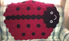 Ladybug baby blanket made of hexagons!