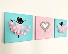 Ballerinas and Heart nursery wall art in pink and silver. Nursery Canvas, Diy Canvas Art, Diy Wall Art, Nursery Wall Art, Ballerina Bedroom, Ballerina Birthday, Mermaid Canvas, Heart Wall Art, Heart Canvas
