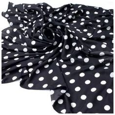 """B143 Silky Black & White Long Polka Dot Scarf ‼️PRICE FIRM‼️   Silky Polka Dot Scarf   This is such a luxurious feeling scarf.  Very soft and silky feeling. 100% polyester.  Approximately 47"""" wide, 55"""" long.  Please check my closet for many more items including jewelry, shoes, handbags designer clothing & more! Custom Accessories Scarves & Wraps"""