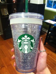 Glittered Starbucks cup I made as a gift. All you need is adhesive spray & glitter of your choice & unscrew the Starbucks cup so you glitter inside the thermos part and then put back together & your done. Perfect gift for coffee lovers