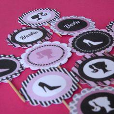 DIY Printable Barbie Inspired Cupcake Toppers by CupcakeFashion Barbie Theme, Barbie Birthday, Barbie Party, Girl Birthday, Birthday Parties, Birthday Ideas, Cupcake Toppers, Diy Cupcake, Cupcake Ideas