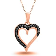 Black Diamond Gold Over Sterling Heart Pendant w/ Chain For Mother's Day $1200